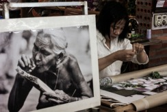 A woman works at an art factory near Hanoi, Vietnam.